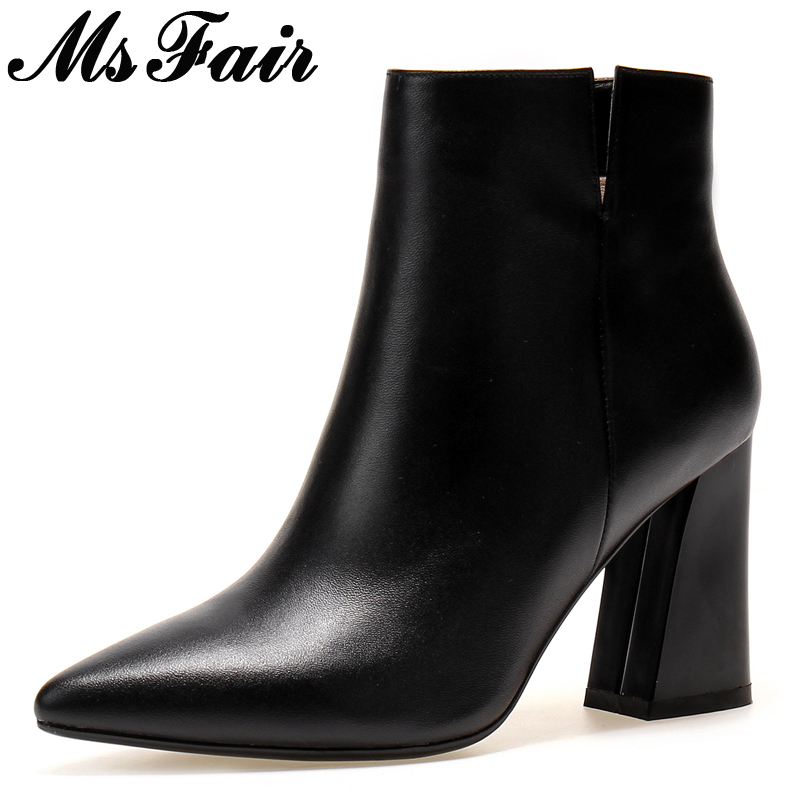MsFair Pointed Toe Square heel Women Boots Fashion Super High Heel Ladies Ankle Boot Winter Zipper Genuine Leather Women's Boots nemaone 2018 women ankle boots square high heel pointed toe zipper fashion all match spring and autumn ladies boots