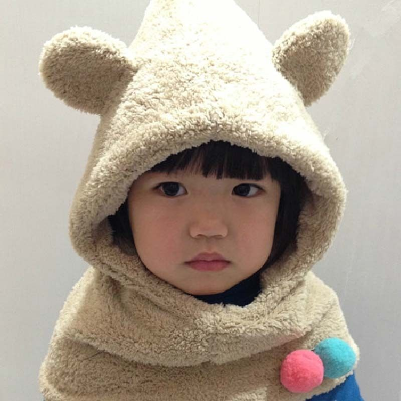 1 Pc New Fashion multicolor Cute Kawaii Nice Anminal Ears Eight Colours Winter Warm hat for children baby Coif Hood Scarf