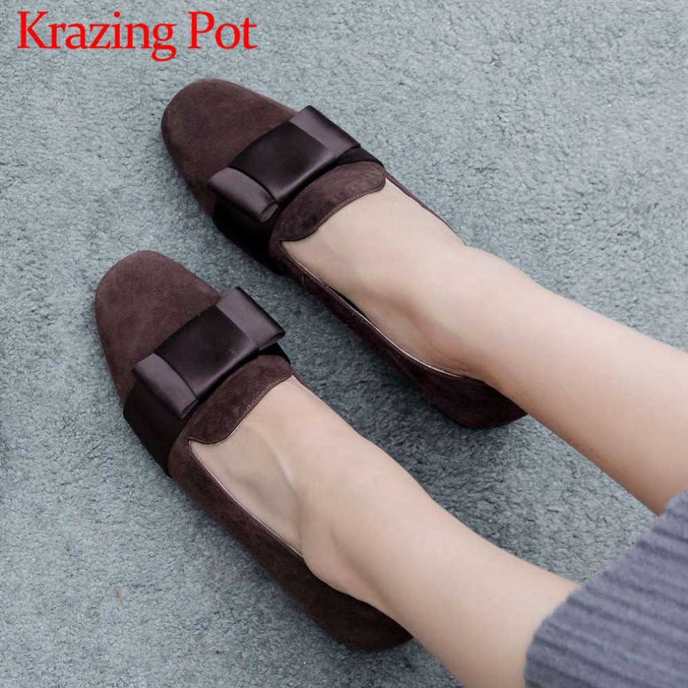 Krazing pot full grain leather sweet butterfly knot fairy classic square toe low heels handmade young