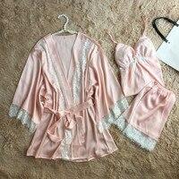 Women Pyjamas Lace Sexy Sleepwear Female Summer Satin Pajamas for Women Pijama Kimono HIgh Quality Elegant Silk Pajamas