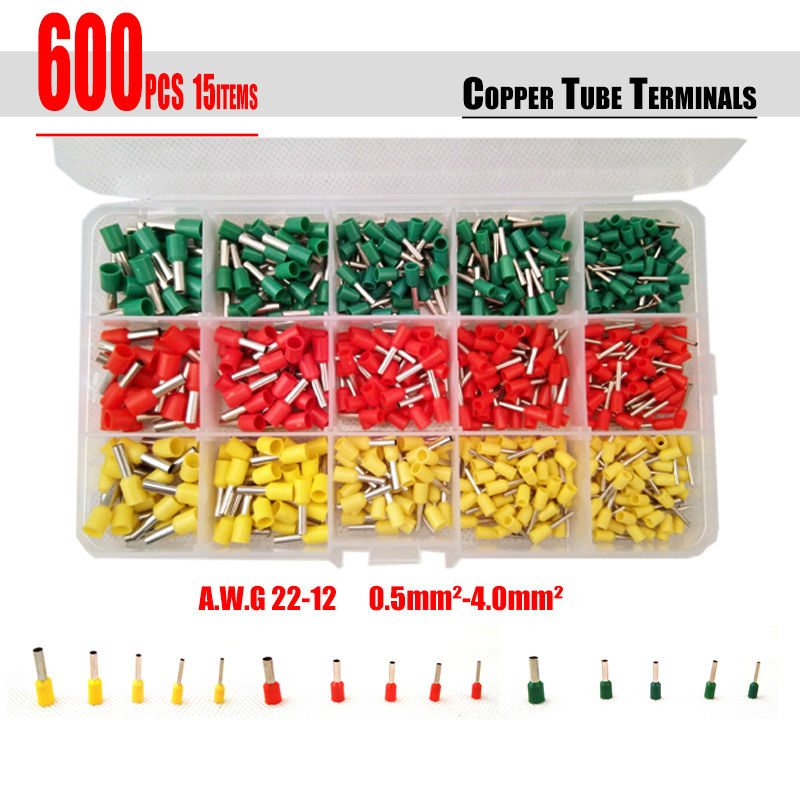 Free Shipping 600pcs/set 3 colors tube terminals Connector Cord Pin End Cable wire Bootlace Ferrules kit for 22~12AWG