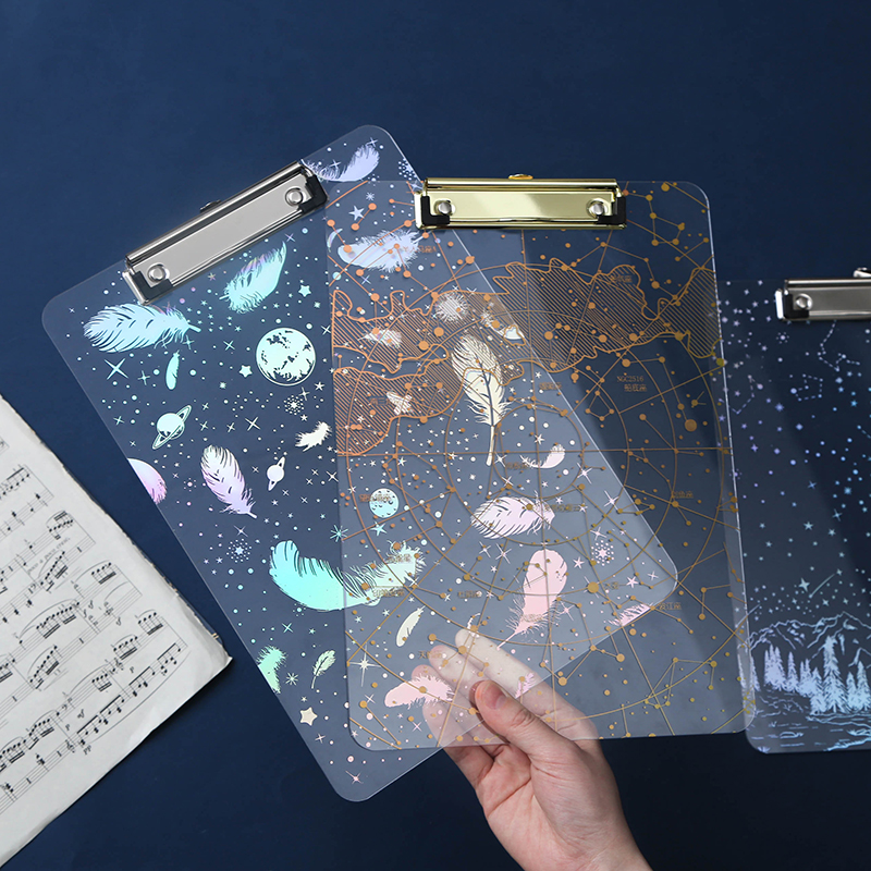 Yiwi Transparent Starry Sky A4 Document File Folder Clip Board Student Stationery Plastic Writing Hard Board School Supplies