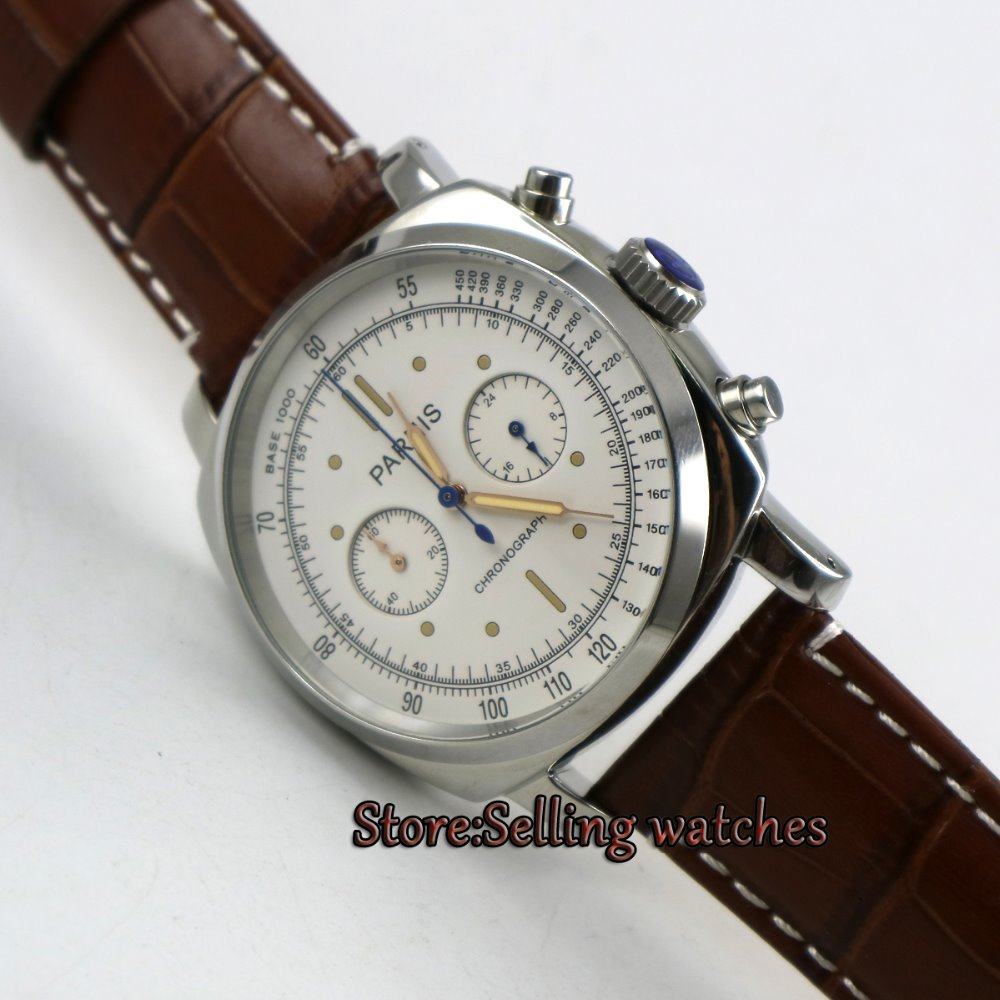 Parnis 44mm White dial Full chronograph luminous 5ATM Japan quartz movement Men's watch цена и фото