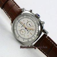 Parnis 44mm White dial Full chronograph luminous 5ATM Japan quartz movement Men's watch