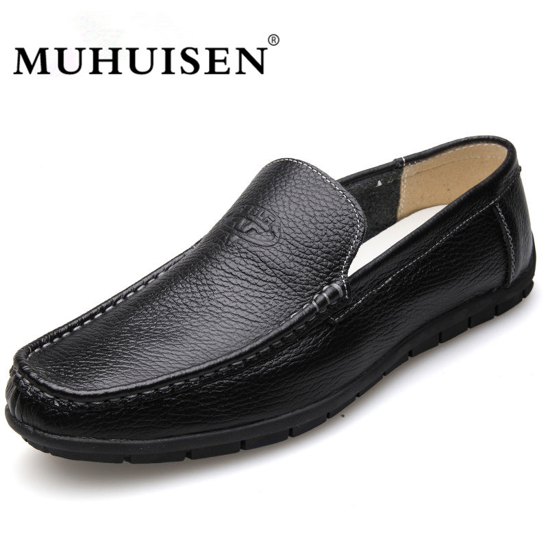 MUHUISEN Spring Summer Men Loafers 2017 New Casual Shoes Slip On Fashion Drivers Flats Genuine Leather Moccasins Male Shoes npezkgc new arrival casual mens shoes suede leather men loafers moccasins fashion low slip on men flats shoes oxfords shoes