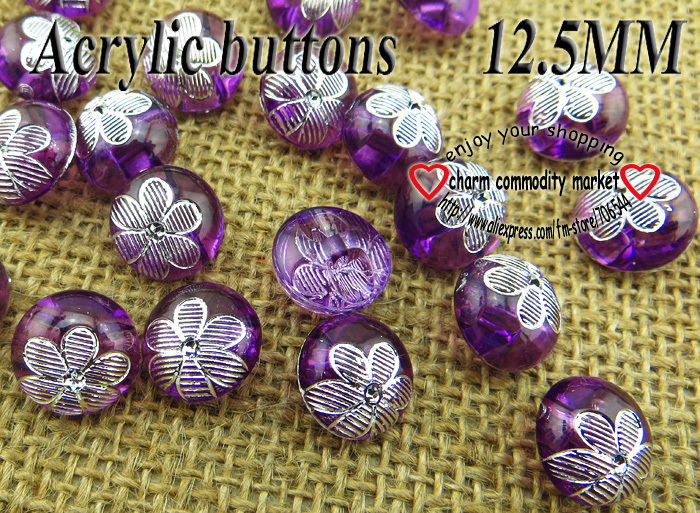 100PCS Transparent flower pattern purple Dyed Acrylic buttons coat boots sewing clothes accessories A-017-6