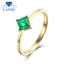 Simple Design Natural Colombia Emerald Ring without Diamond for Student Fine Jewelry Gift