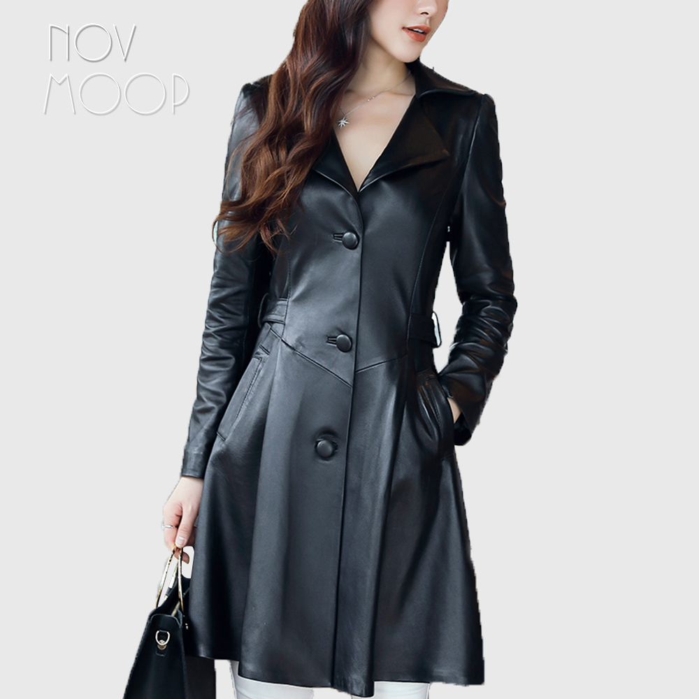 Spring autumn black genuine leather real lambskin leather long trench coat windbreaker outwear casacos slim waist design LT1934-in Leather Jackets from Women's Clothing    1