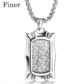 Stainless Steel Cubic Zircon Hip Hop Dog Tag Pendant Necklace Antique Silver Chain Geometric Pyramid Pendant Jewelry