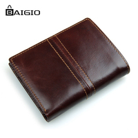 Baigio Wallet Men Vintage Style Crazy Horse Leather Wallet 2 Colors High Quality Genuine Short Male