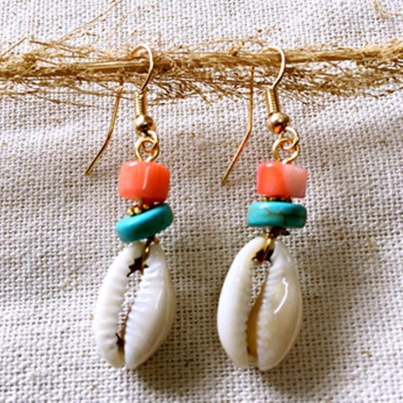 Dongmu Jewellery New 2017 Drop Earrings hand-made shell Stone tassel earrings national style fashion earrings for women