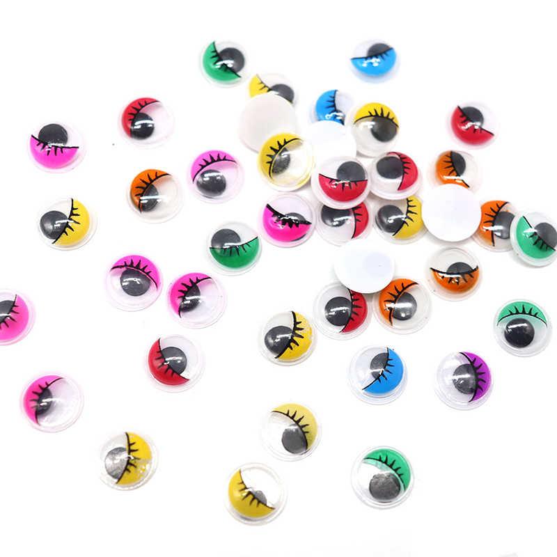 Lucia crafts Approx 240pcs 10mm Multicolor Round Plastic Eyelash Eye Wobbly Googly Eyes DIY Toy Dolls Scrapbook K0915