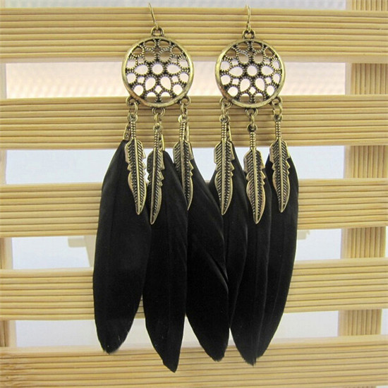 H:HYDE Dream Catcher Hollow out Vintage Leaf Feather Dangle Earrings For Women Bohemia Earring Lady's Ethnic Indian Jewelry 4