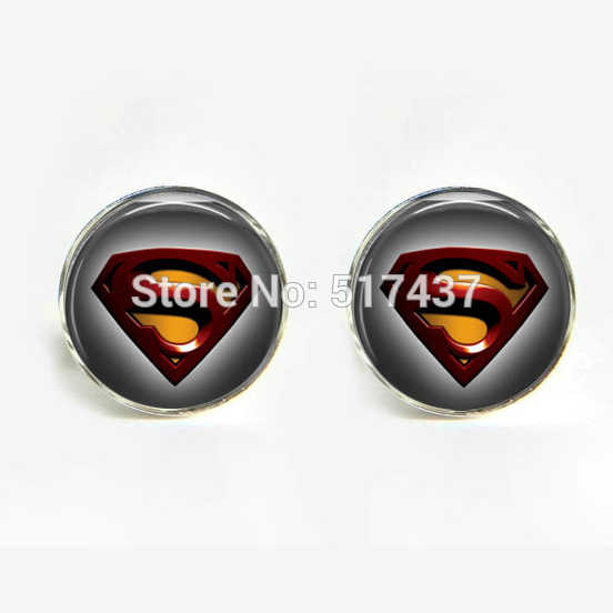 1 pair wholesale Sliver Black Round Cufflinks Superhero Cufflinks Man of Steel Cuff Link Round Photo Cufflinks