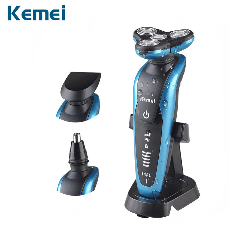 Kemei 3 In1 Washable Rechargeable Men's Electric Shaver Triple Blade Shaving Razors Beard Trimmer Men Face Care 3D Floating Head