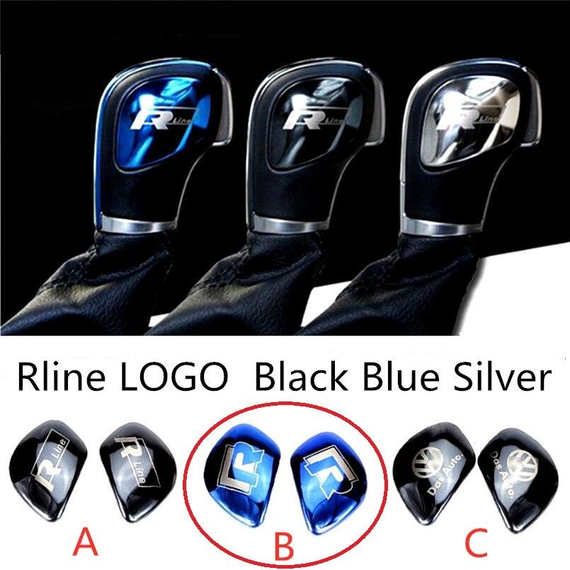 Diseño Interior de coche pomo de palanca de cambios pegatina decoración de calado de coche adhesivo logotipo Rline para Volkswagen azul plata negro