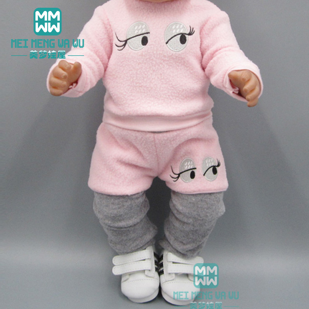 Clothes For Doll Fit 43cm Baby Toy New Born Doll And 45cm American Doll Pink Casual Plush Set Sweater Suit