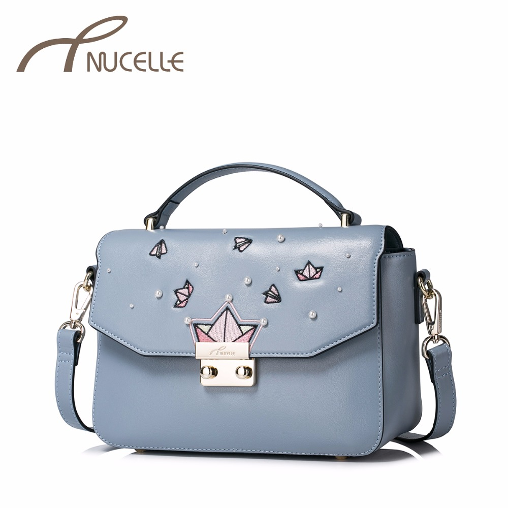 NUCELLE Women PU Leather Handbag Ladies Fashion Small Messenger Tote Purse Female Leisure Embroidery Flap Shoulder Bags NZ4997 women fashion tassel pu leather handbag shoulder bag small tote ladies purse comfystyle