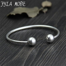 Fyla Mode S999 Thai Silver Adjustable Bangles 11mm Ball Charms Women Cuff Bangle Bracelet Thickness 3mm  Weight 16G WTB055