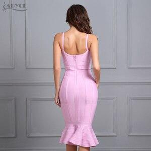 Image 3 - Adyce femmes été rose robe de pansement 2020 Spaghetti sangle sirène col en v Midi clubwear célébrité soirée robe de soirée Vestidos