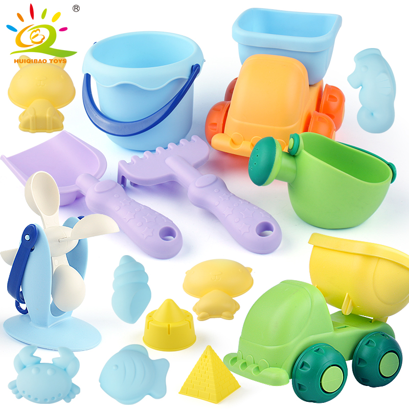 HUIQIBAO TOYS Summer Beach Toys For Kids Children Seaside Truck Buckets with Animal Castle Mold Sets Play Sand and Water Tools