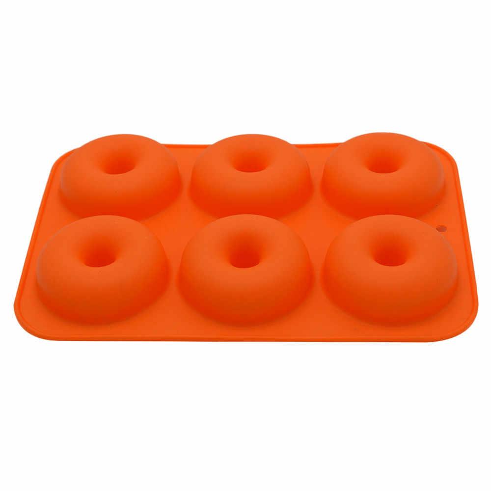 6-Cavity Silikon Form Für Kuchen Backen Gelee Silikon DIY Donut Brot Backen Werkzeug Pudding Pasrty Eis Seife Kuchen dekoriert Form # Z