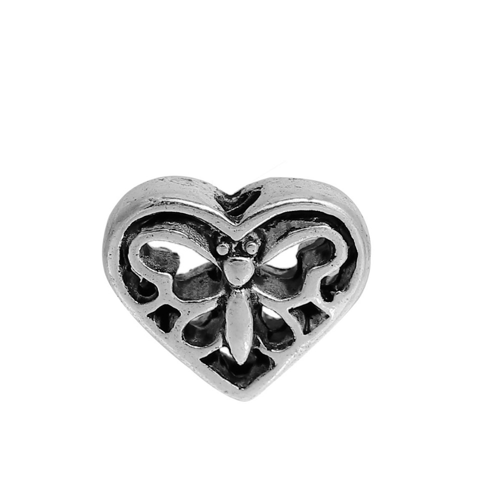 Дорин Бусины цинковый сплав на основе старинное серебро DIY Spacer Бусины сердце бабочка полые 12 мм (4/8 «) x 10 мм, Отверстие: Приблизительно 1.8 мм, 20 шт.