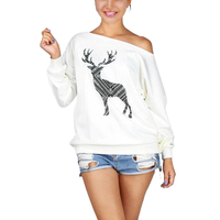 Christmas Deer Women Fashion Saxy Loose Pullover Off One Shoulder Sweatshirt Deer Print White Pullovers Top