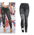 New Ripped Patchwork Women Sexy Fashion Jeans Mid-Waist Elastic Stretch Skinny Full-Length Pencil Femme Denim  Women Sexy Jeans