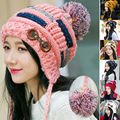 Autumn FashiChristmas Gift Women's Winter Braided Crochet Wool Knit Beanie Beret Ski Ball Cap Baggy Warm Hat Valentine's Day gif