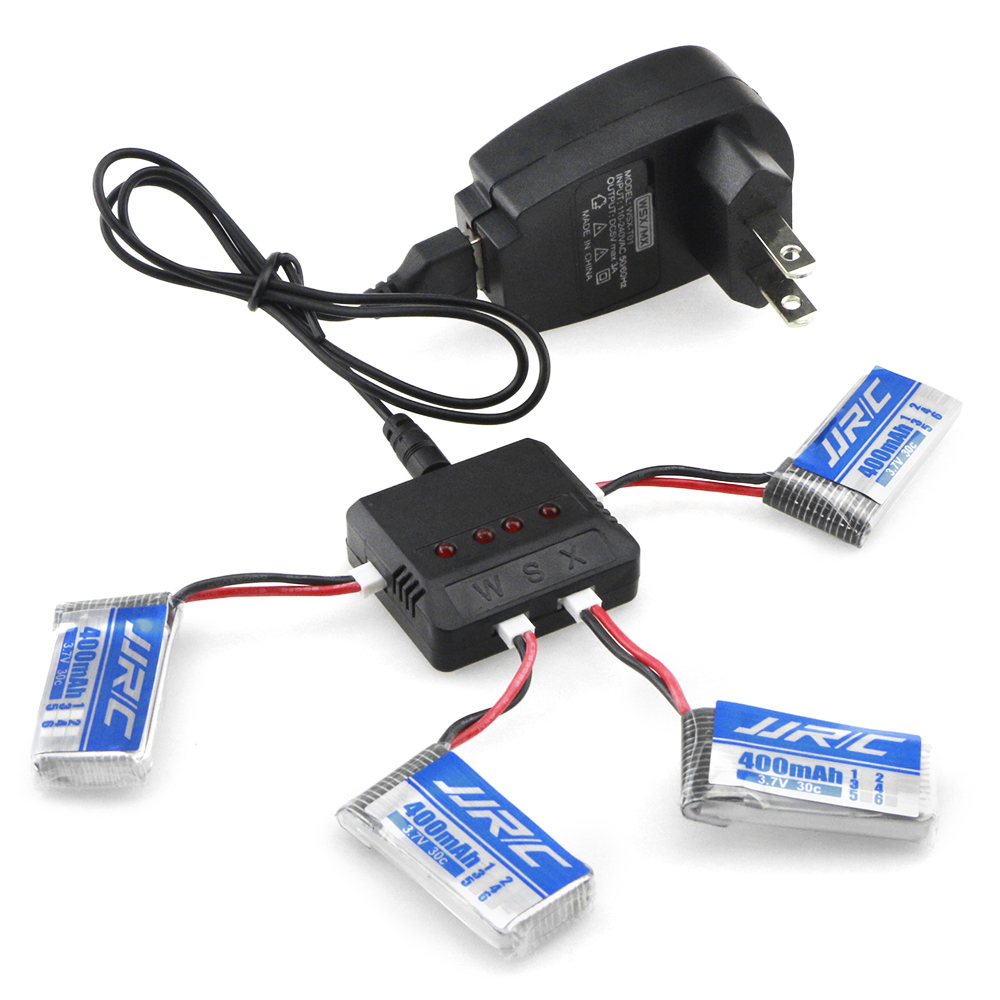 JJRC Battery Charging Set 3.7V 400mAh LiPo + WSX Balance Charger with US Plug Adapter / Cable for H31 Drone