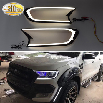 For Ford Ranger 2015-2018 LED Daytime Running Lights Fog Lamp DRL With Yellow Turning Signal Lamp Car Styling