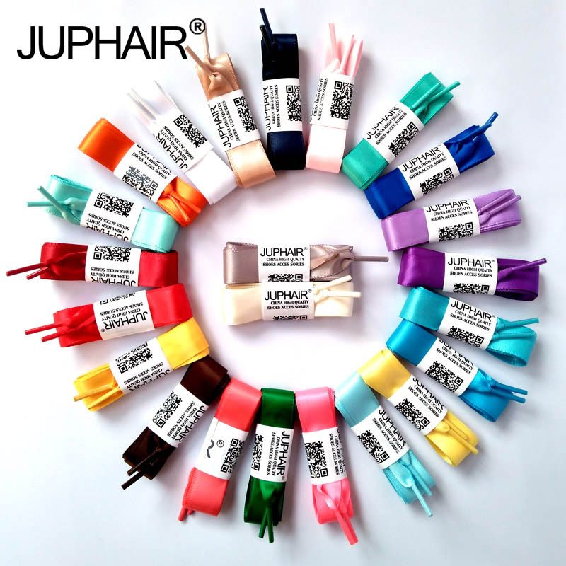 JUP 8 Pair 120cm Women Fashion Fantastic Princess Colorful Flat Silk Ribbon Shoelaces Princess Colorful Lady Laces Free Shipping weiou fashion flat silk ribbon shoelaces princess sneaker colorful sport shoes laces with 2cm width metal aglets drop shipping