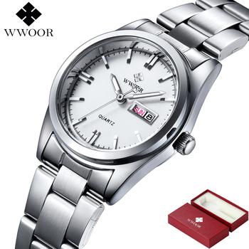 WWOOR Women's Luxury Date Silver Stainless Steel Ladies Quartz Watches 1