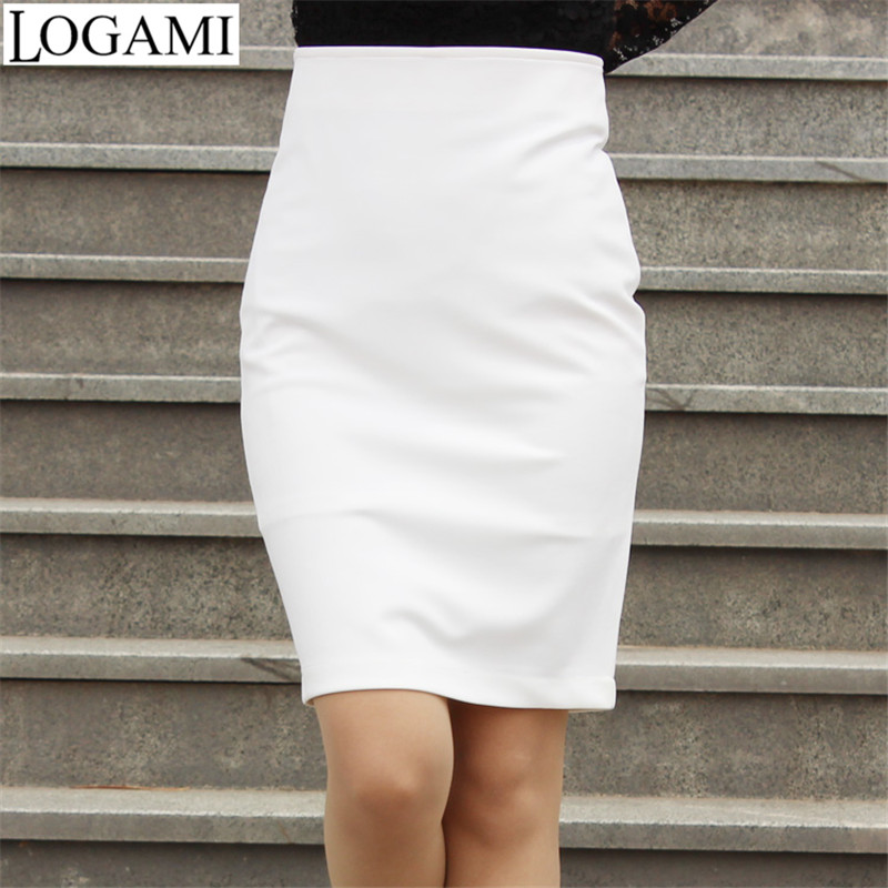 Wrap Skirt Pencil Skirt 2016 Women High Waist OL Bodycon Skirts Black/White Bandage Saias Femininas Formal SMLXXXXL Plus Size(China)