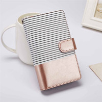 For IPhone 7 Luxury Stripe Leather Wallet Case For IPhone 5 5S 6 6S Plus 7