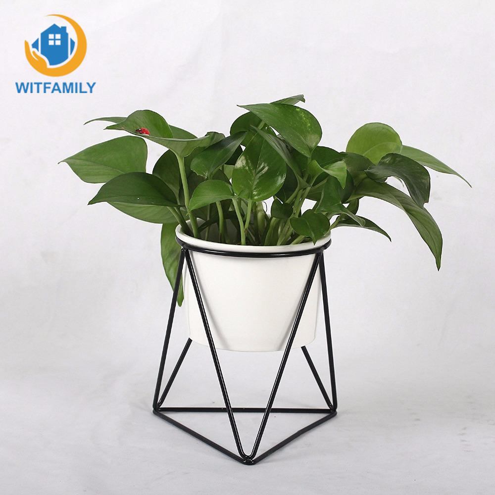 US $15 82 25% OFF|Air Bonsai Plant Stand for Succulent Cactus Decorative  Planter Pots Indoor Modern Garden White Ceramic Round Bowl with Metal-in