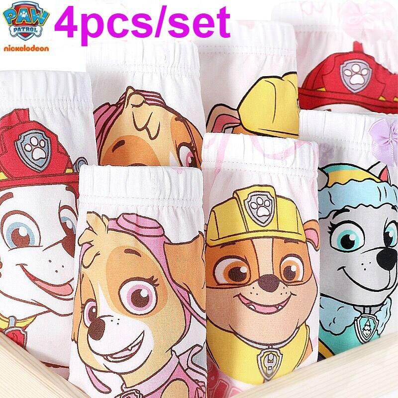 4pcs/set Genuine Paw Patrol Skye Everest Marshall Rubble Girl Boy Underwear Kids Cotton Panties Underpant Children Toy Doll Gift