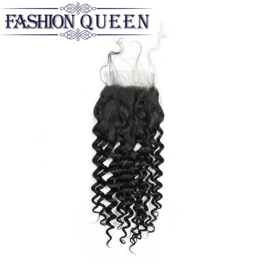 Brazilian Water Wave Lace Closure 130% Density Human Hair Extension Closures Free Middle Three Part Wet And Wavy Closure