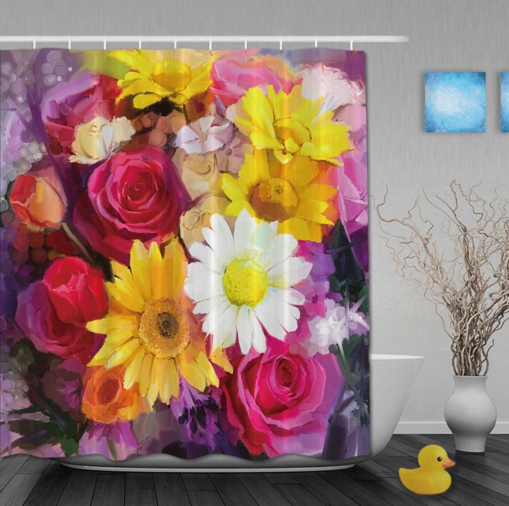 Özel Yağ Çizim Renkli Blooming Çiçekler Harika Bahar Gün Hooks - Ev Eşyaları