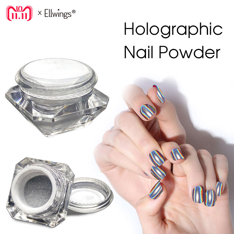 Ellwings 3D Rainbow Pigment Chrome Nail Powder Nail Gel
