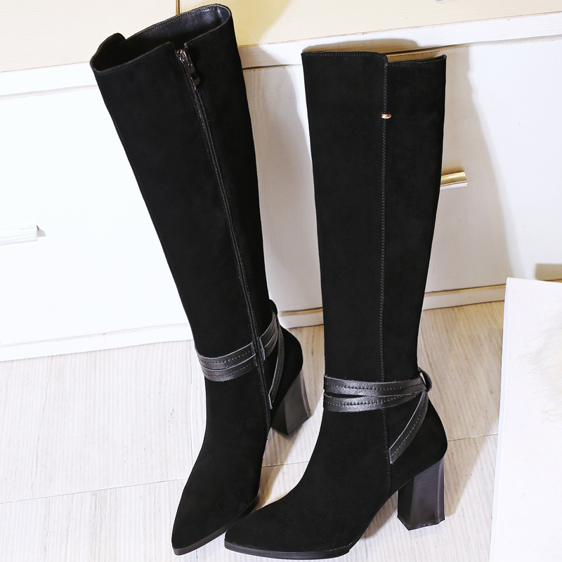 ФОТО shoes women boots Knee-High mujer Botas high heels shoes fashion Knight boots high quality sexy woman boots shoes plus size 41