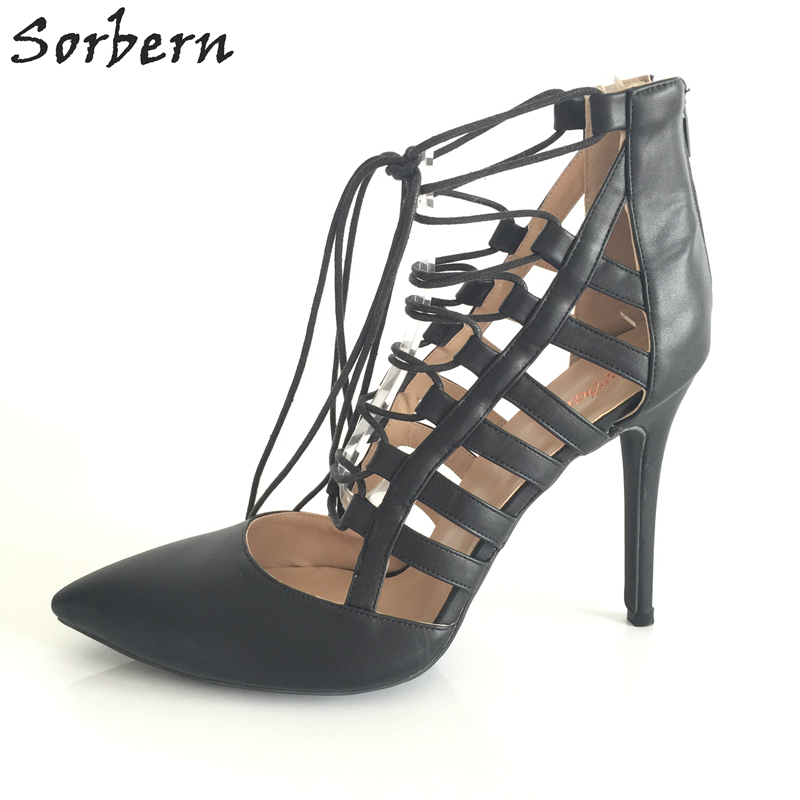 Sorbern Lace Up Heels Pointed Toe Gladiator Women Pumps High Heels Size 35 Large Size Womens Shoes Pumps Spring Style Stilettos pu serpentine lace up pointed toe womens flats