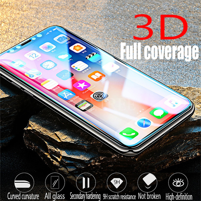 Protective Glass on the For iPhone 6 6s 7 8 plus XR X XS glass full cover For iPhone Xs Max Screen Protector Tempered GlassProtective Glass on the For iPhone 6 6s 7 8 plus XR X XS glass full cover For iPhone Xs Max Screen Protector Tempered Glass