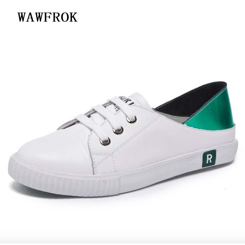 Women Casual Shoes 2018 New Genuine Leather Women Sneakers Fashion Ins Female White Flats Spring Summer Lace Up Women Shoes