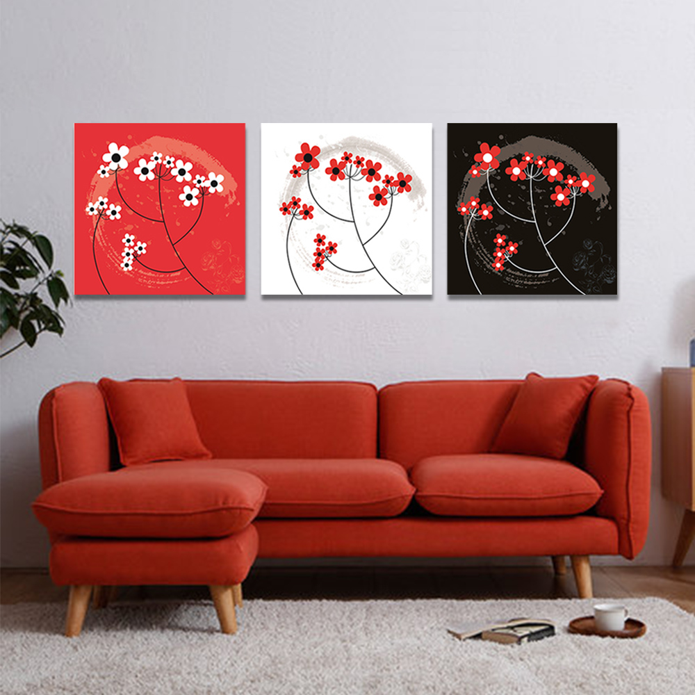 Unframed 3 Abstract Canvas Painting Small Red Flower Wall Art Decor Prints Wall Pictures For Living Room Wall Art Decoration