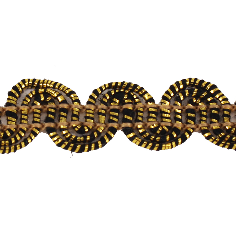 braided black gold gimp lace ribbon fabric fancy trim decorated