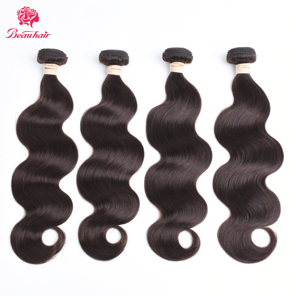 Beau Haar Brasilianische Körper Welle Bundles 10-28 zoll 100% Menschliche Haarwebart Bundles 4 stücke 2 # Braun farbe Haar Verlängerung Nicht Remy