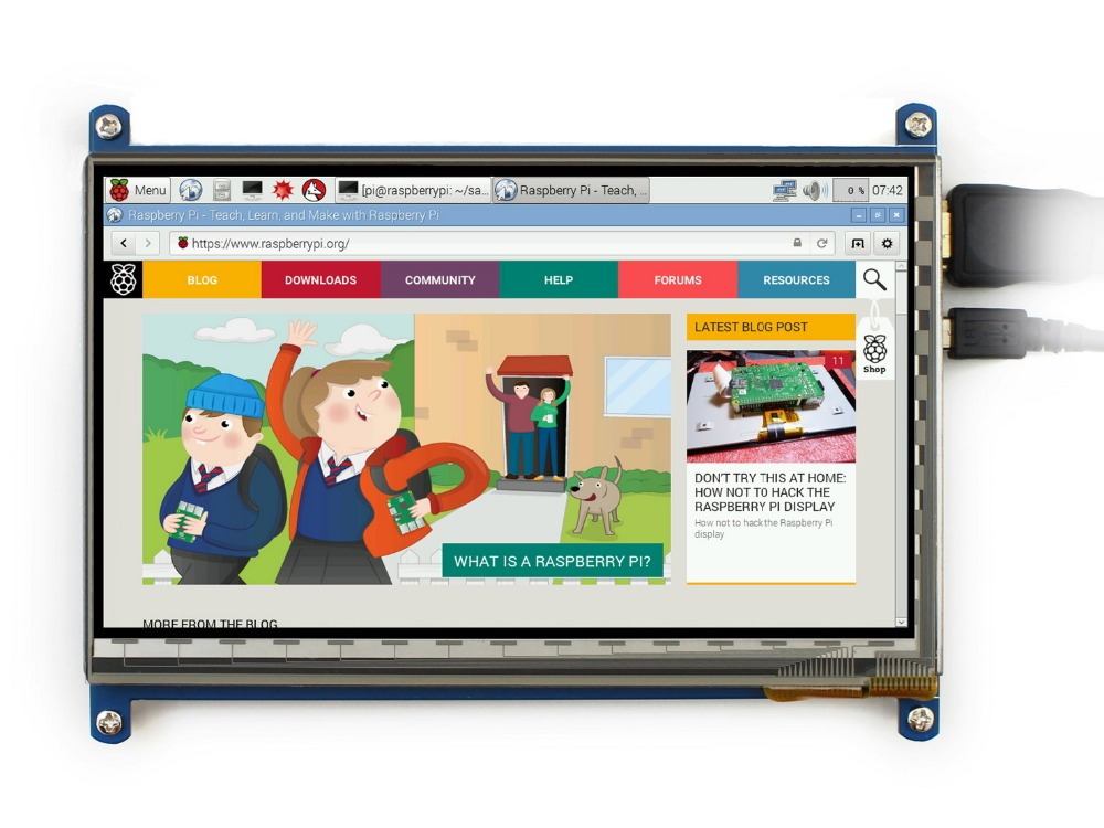 Waveshare 7inch Rev2.1 1024*600 HDMI Touch Screen Raspberry Pi 2 B/3 B/B+ LCD Display Supports Raspbian Ubuntu Windows 10iot 7 inch raspberry pi 3 touch screen 1024 600 lcd display hdmi interface tft monitor module compatible raspberry pi 2 model b