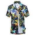 2017 Estilo Verão Mens Camisa De Poliéster Homens Casual camisa camisa de Manga Curta Da Cópia Floral Praia de Praia masculino Camisas (Tamanho da ásia)